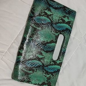 NWT blue green snakeprint clutch Express